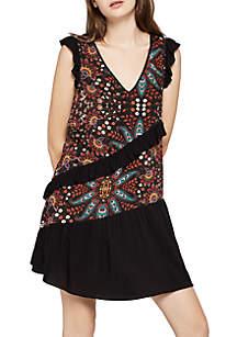 Contrasting Ruffle Print Dress