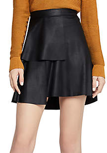 Faux Leather Ruffle Front Skirt