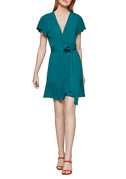 Short Sleeve Wrap Tie Dress