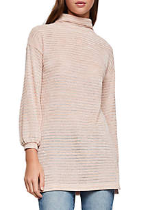 Funnel Neck Tunic Knit Top
