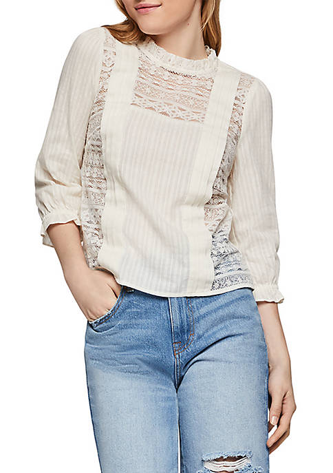 BCBGeneration Pintuck Lace Woven Top