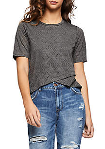 BCBGeneration Short Sleeve Cross Front Top