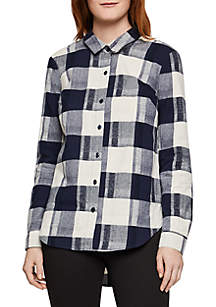 BCBGeneration Lace-Up Back Checkered Button Down Top