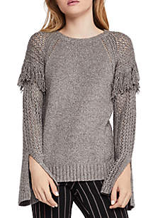 Fringe Split Sleeve Sweater