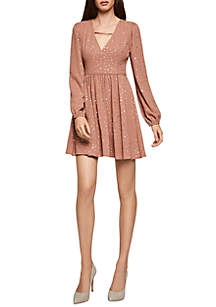 BCBGeneration Long Sleeve Star Print Dress