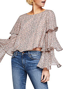 Tiered Ruffle Long Sleeve Print Woven Blouse