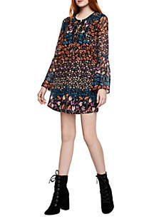 Tie Front Printed Dress