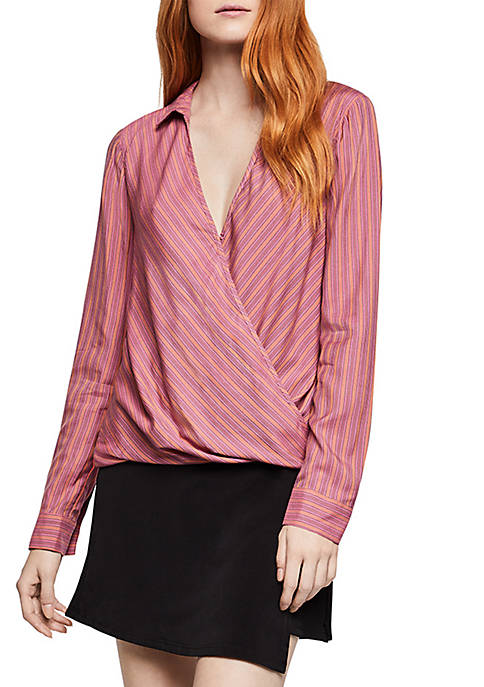 BCBGeneration Long Sleeve Wrap Hem Top