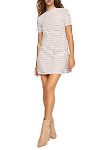 A-Line Stripe Mock Neck Dress