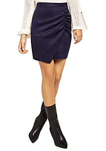 Ruched Faux Suede Skirt