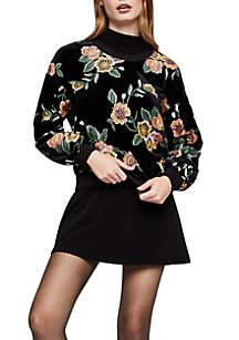 Floral Embossed Velvet Sweatshirt