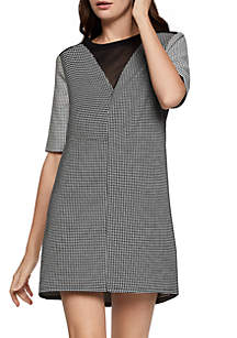 Colorblock Mesh V--Neck Dress