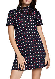 Dot A-Line Mock Neck Dress