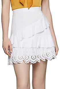 BCBGeneration Asymmetrical Ruffle Eyelet Skirt