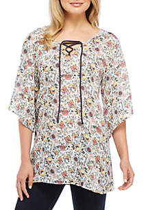 Lace Up Hoody Tunic Cover-Up