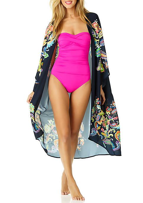 Paisley Open Front Swim Kimono