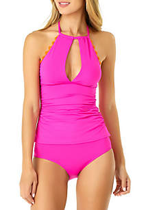 Anne Cole® Ric Rac Solid High Keyhole Neck Tankini