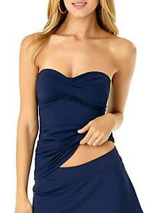 Anne Cole® Twist Front Shirred Bandeakini
