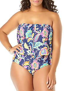 Anne Cole® Plus Size Paisley Pom Swimsuit