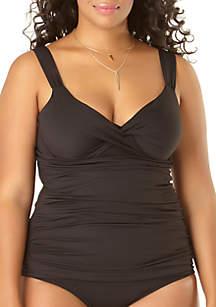 f5a55770577 ... Anne Cole® Plus Size Twist Front Swim Tankini