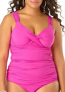 Anne Cole® Plus Size Twist Front Swim Tankini
