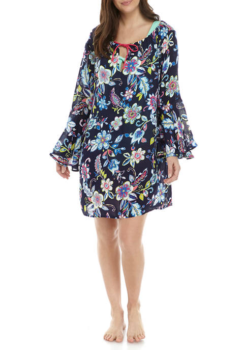 Anne Cole® V-Neck Bell Sleeve Beach Tunic Cover-Up
