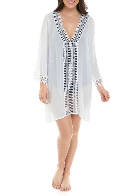 Anne Cole® Lace Insert V-Neck Beach Tunic Cover-Up