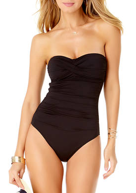 Twist Front Shirred One Piece Swimsuit with Removable Straps