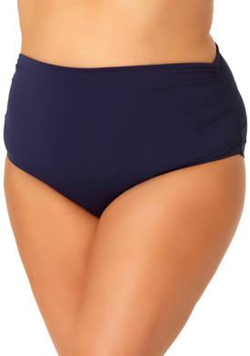 Plus Size High Waist Shirred Swim Bottoms