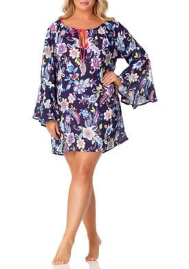 Plus Size Bell Sleeve Tunic Swim Cover Up