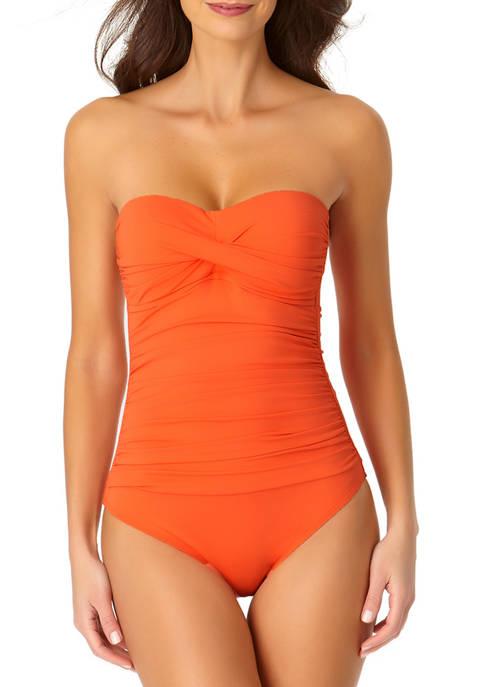Anne Cole Signature® Twist Front Bandeau One-Piece Swimsuit