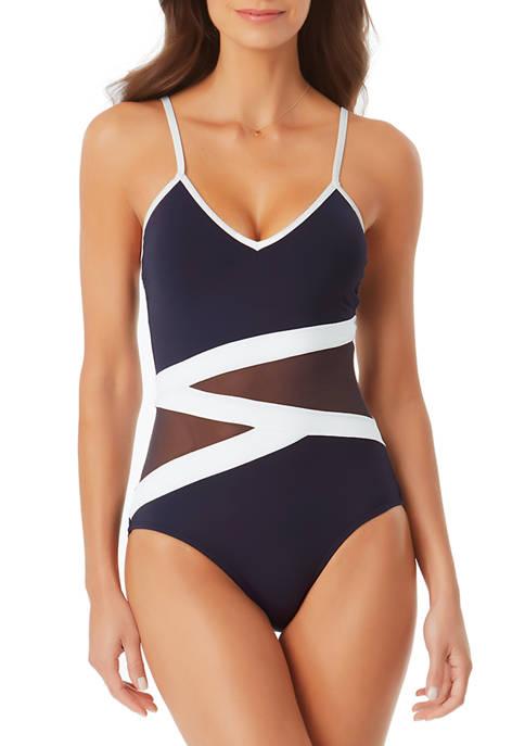 Anne Cole Signature® Asymmetric Mesh One Piece Swimsuit