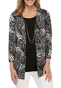 Kim Rogers® Printed Textured 2Fer with Necklace