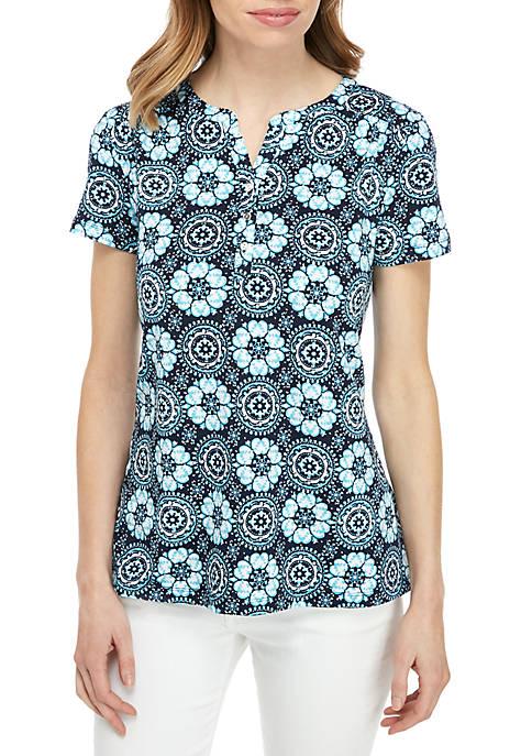 Kim Rogers® Short Sleeve Henley Top