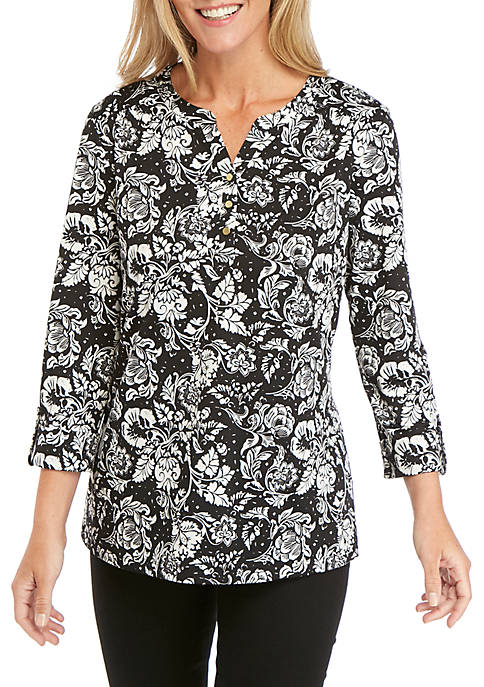 Kim Rogers® Roll Sleeve Allover Print Henley Top
