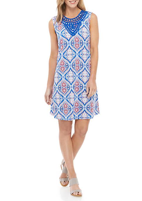 Kim Rogers® Sleeveless Crochet Neck Printed Shift Dress