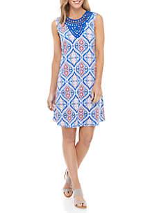 271745c729b606 ... Kim Rogers® Sleeveless Crochet Neck Printed Shift Dress