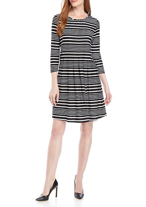 Kim Rogers® Womens 3/4 Sleeve Striped Shirt Dress