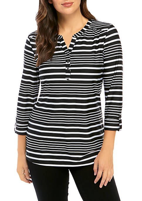Kim Rogers® Roll Sleeve Striped Henley Top