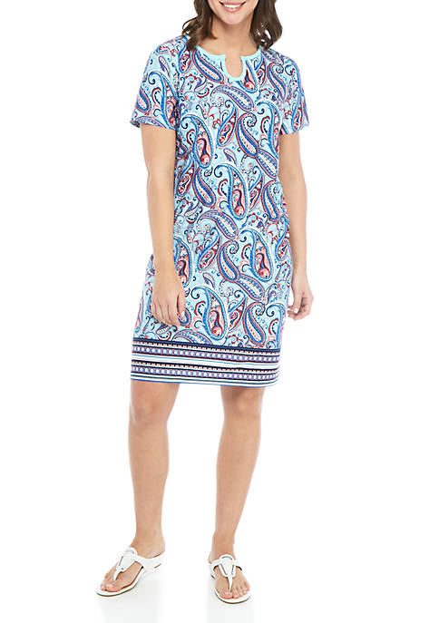 Kim Rogers® Short Sleeve Horseshoe Neck Swing Dress