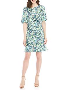 Kim Rogers® Printed Bell Sleeve Dress
