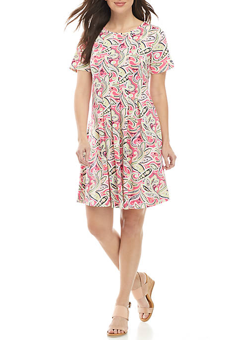 Kim Rogers® Short Sleeve Pleated ITY Dress