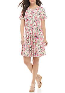 1a9c17fa00c ... Kim Rogers® Short Sleeve Pleated ITY Dress