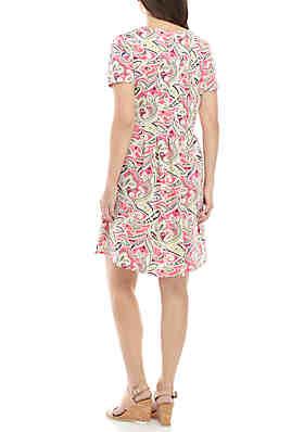 f697782b52a ... Kim Rogers® Short Sleeve Pleated ITY Dress