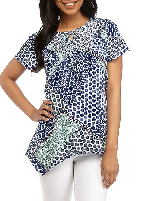 Kim Rogers® Short Sleeve Shark Bite ITY Knit