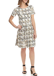 Kim Rogers® Short Sleeve Pleat ITY Dress