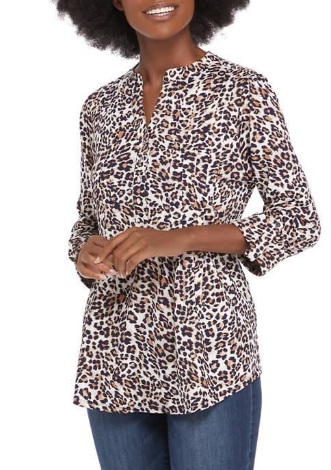 Kim Rogers® Womens 3/4 Sleeve Henley Leopard Print