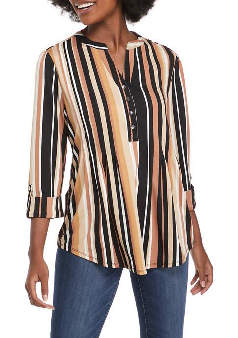 Kim Rogers® Womens 3/4 Sleeve Stripe Henley Top
