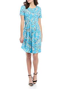 2ded7619d3 ... Kim Rogers® Short Sleeve Pleat Swing Dress