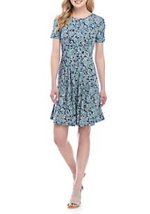 Kim Rogers® Short Sleeve Pleat Swing Dress